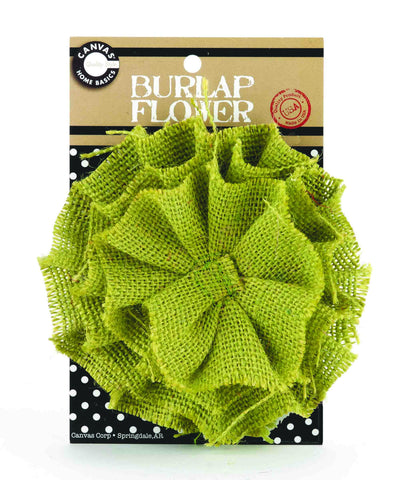 Burlap Flower - Avocado Green