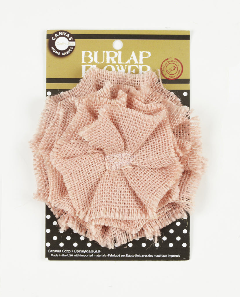 Burlap Flower - Light Pink