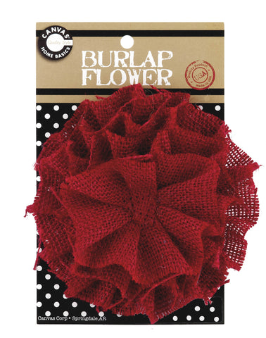 Burlap Flower - Red