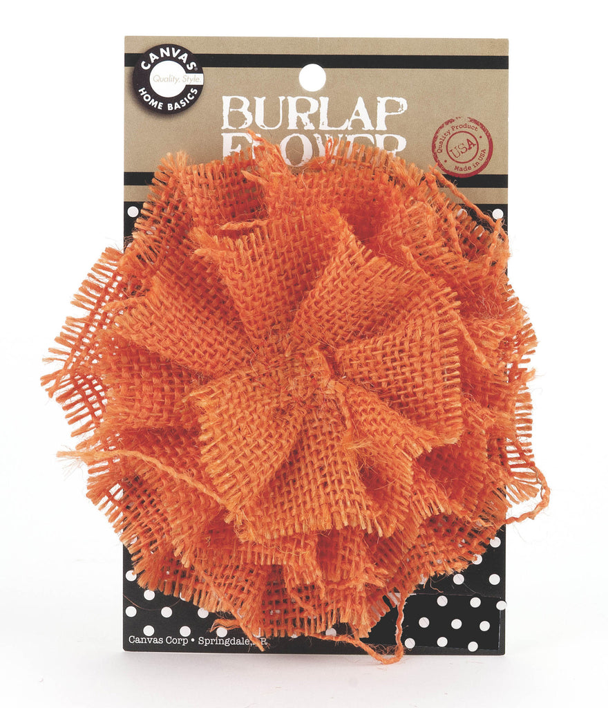 Burlap Flower - Orange