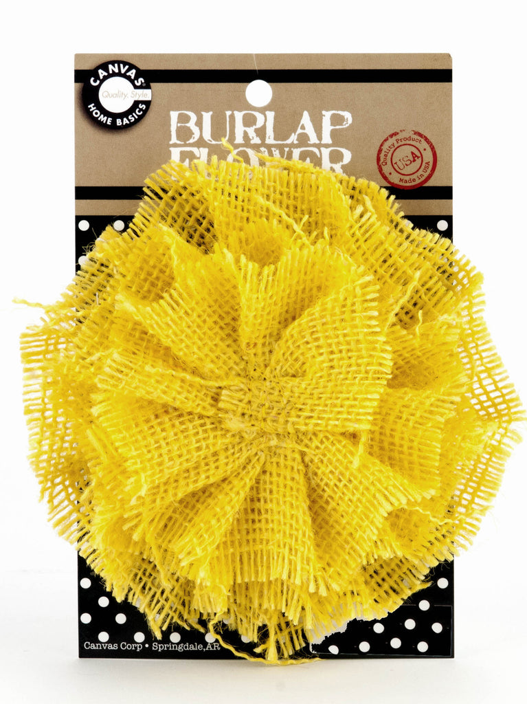 Burlap Flower - Yellow