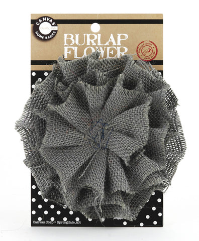 Burlap Flower - Grey