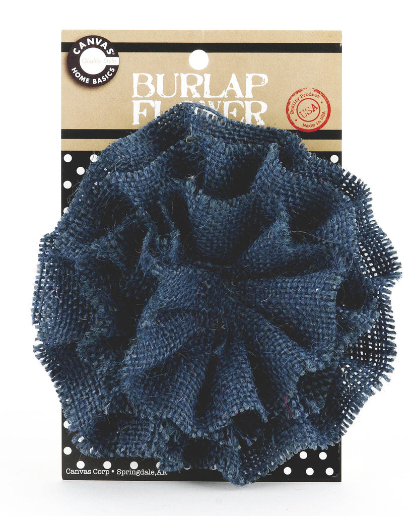 Burlap Flower - Dark Blue