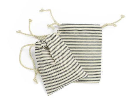 Canvas Bag - Double Drawstring Ticking Bags