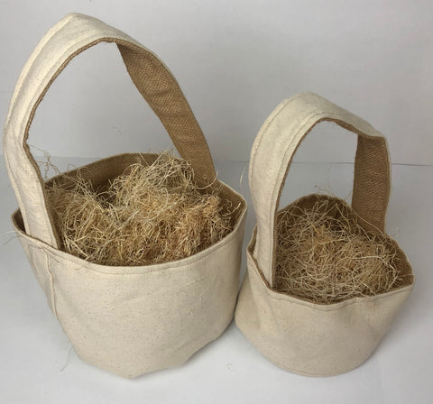 Fabric Basket - Canvas with Burlap Lining (2 sizes)