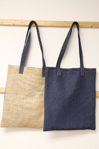 Denim Bag - Denim & Natural Burlap French Market Bag