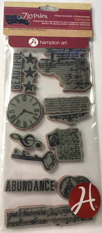 7gypsies Cling Stamp - Abundance Vintage Stamp Collection