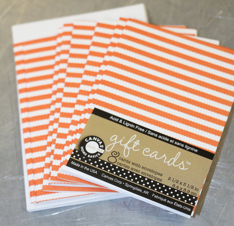Printed Gift Cards w/Env Orange & White Ribbon Stripe (8 pcs)