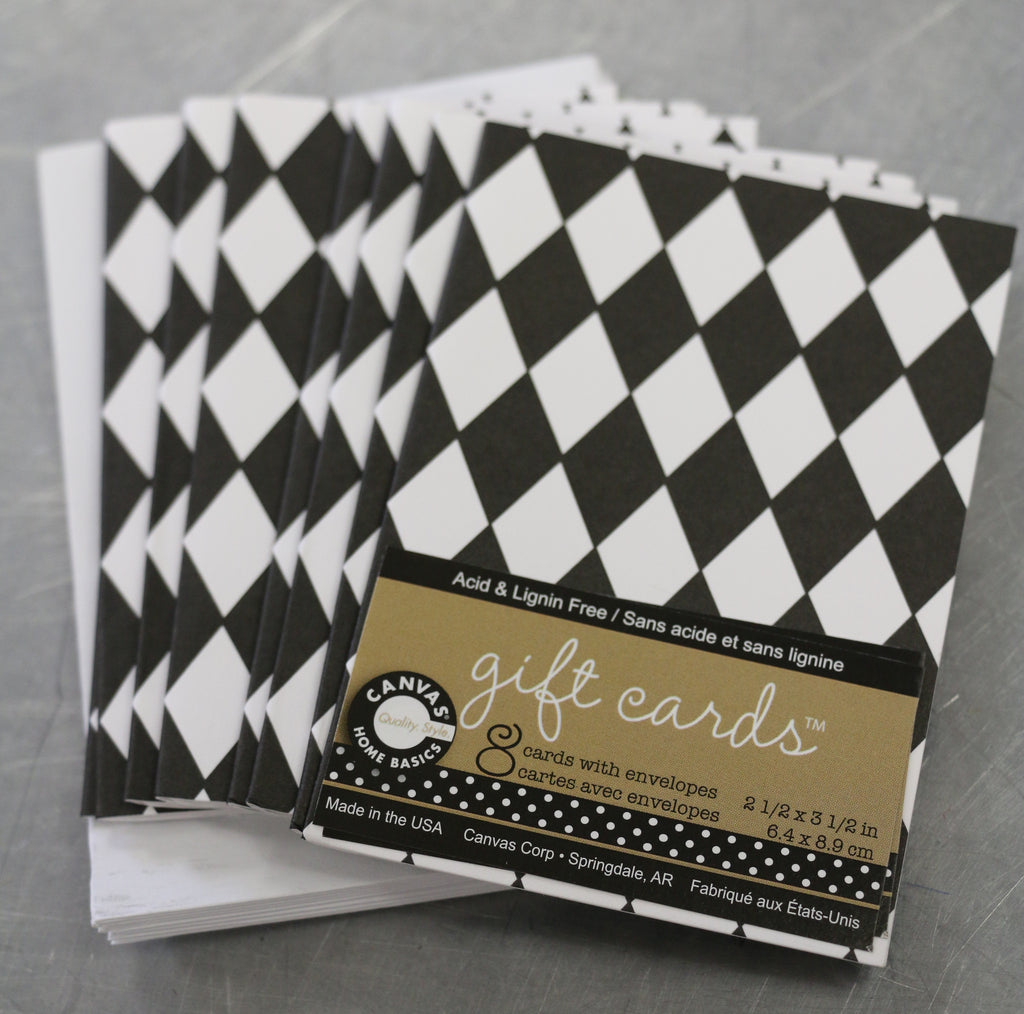 Printed Gift Cards and Envelopes - Black & White Diamonds