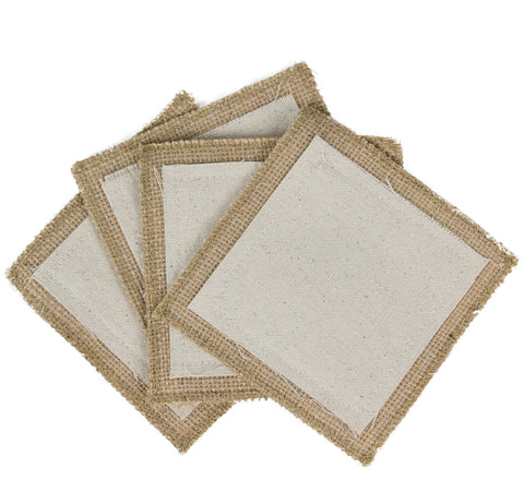 Fabric Coasters - burlap with canvas