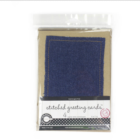 Stitched Greeting Cards - kraft with denim