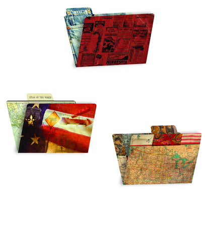 7gypsies 4x6 Printed File Folders - American Vintage (6 Pieces)