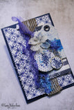 Royal Blue Patchwork on White Paper