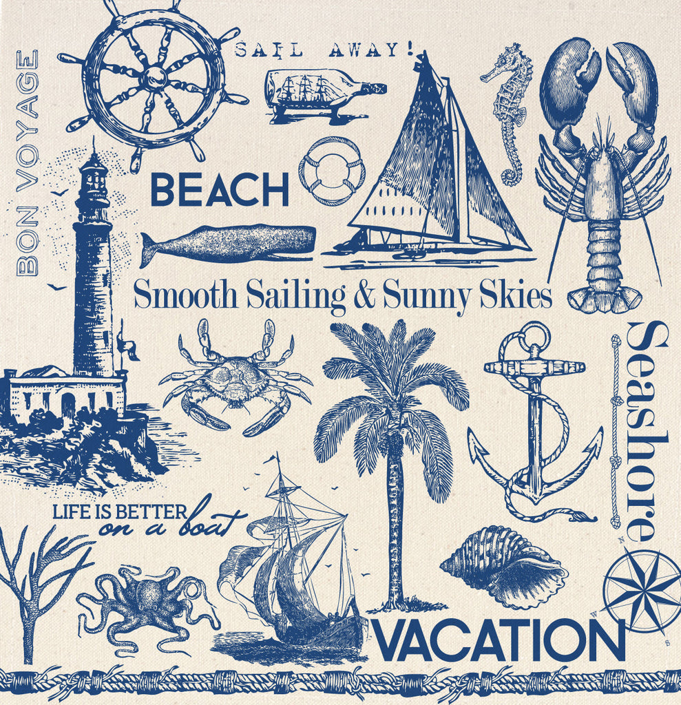 12x12 Printed Canvas Sheet - Sails & Shells