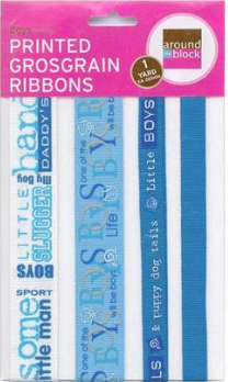 Printed Grosgrain Ribbons - Boys
