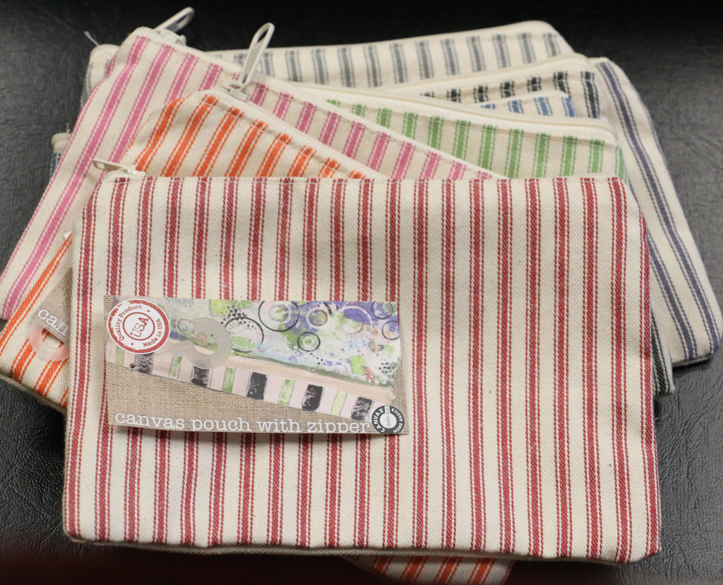 "Canvas Bag - Ticking Zipper Tote 5.5""x7"""