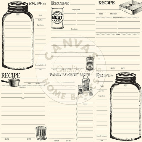 Farmhouse Kitchen: Bake and Can Recipe Cards on Ivory Paper