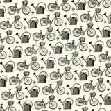 The Watering Can: Bikes and Baskets on Ivory Paper