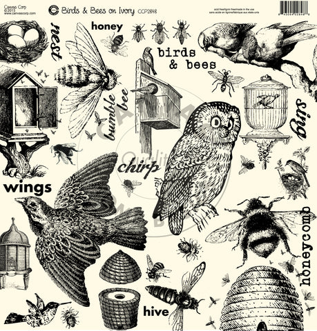 The Watering Can: Birds and Bees on Ivory Paper