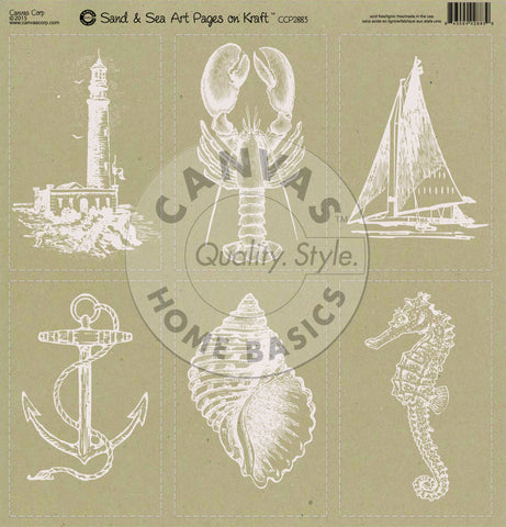 Nautical: Sand & Sea Art Pages on Kraft Paper
