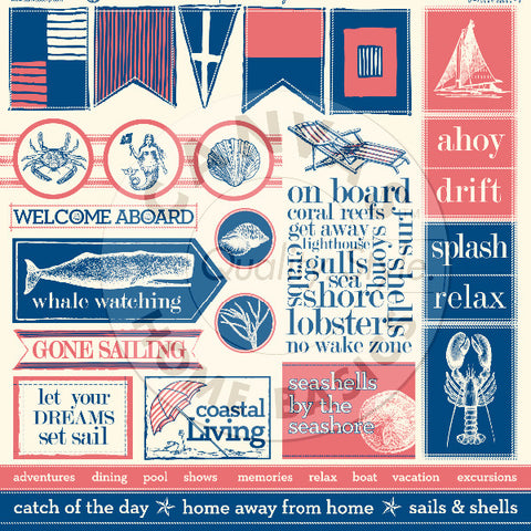 Nautical: Sails and Shells Sampler on Ivory Paper