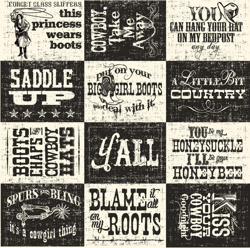 Boots and Saddle Sayings on Ivory