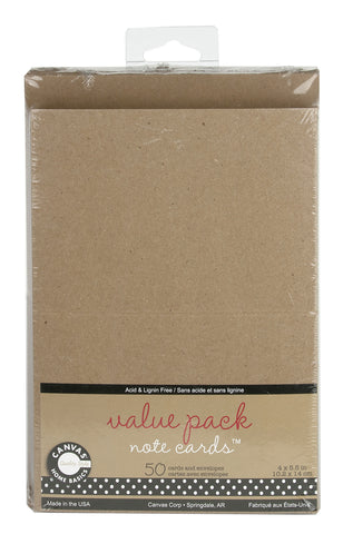 Value Pack Note Cards - Kraft (50 cards/env)