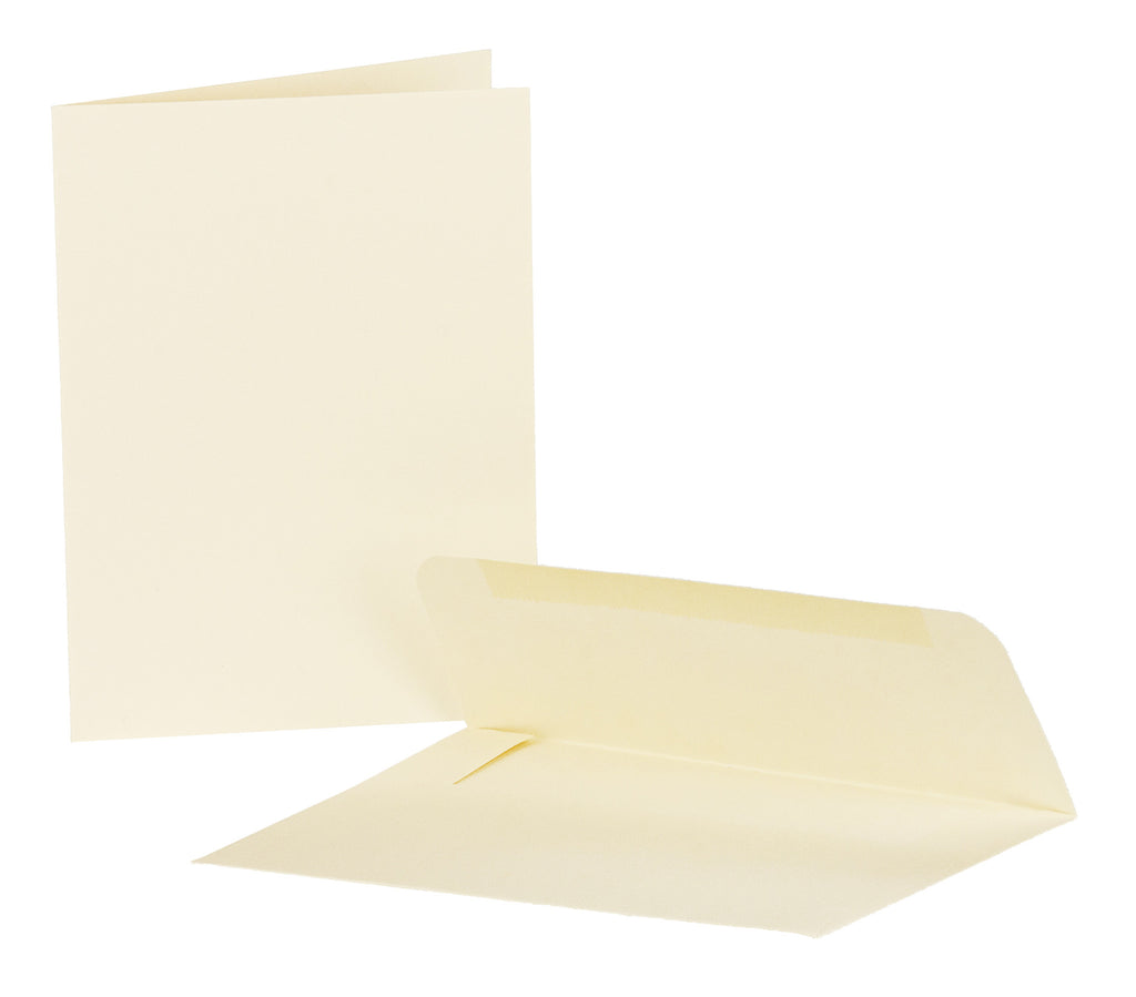 Ivory Blank Heavy Duty Note Cards and Envelopes - Cardstock Weight Paper