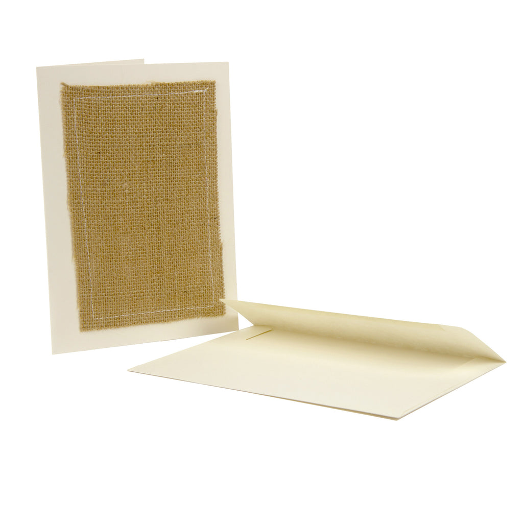 Greeting Cards Ivory with Burlap (4 count)