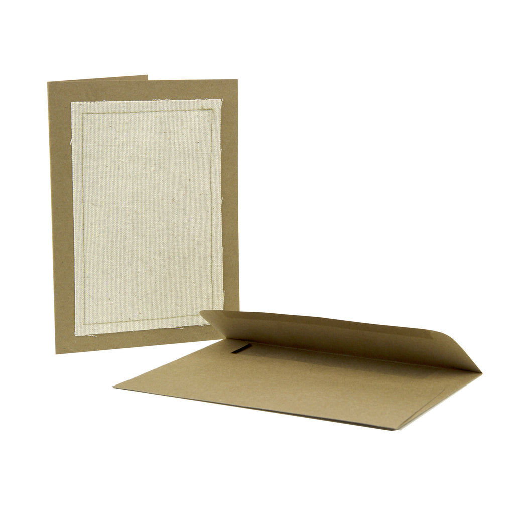 Stitched Greeting Card - kraft with canvas