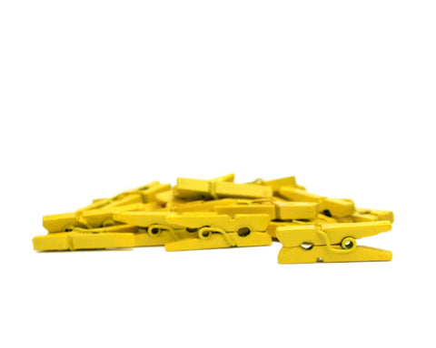 Mini Clothespins- Yellow (25 pieces)