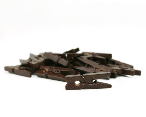 Mini Clothespins- Chocolate (25 pieces)