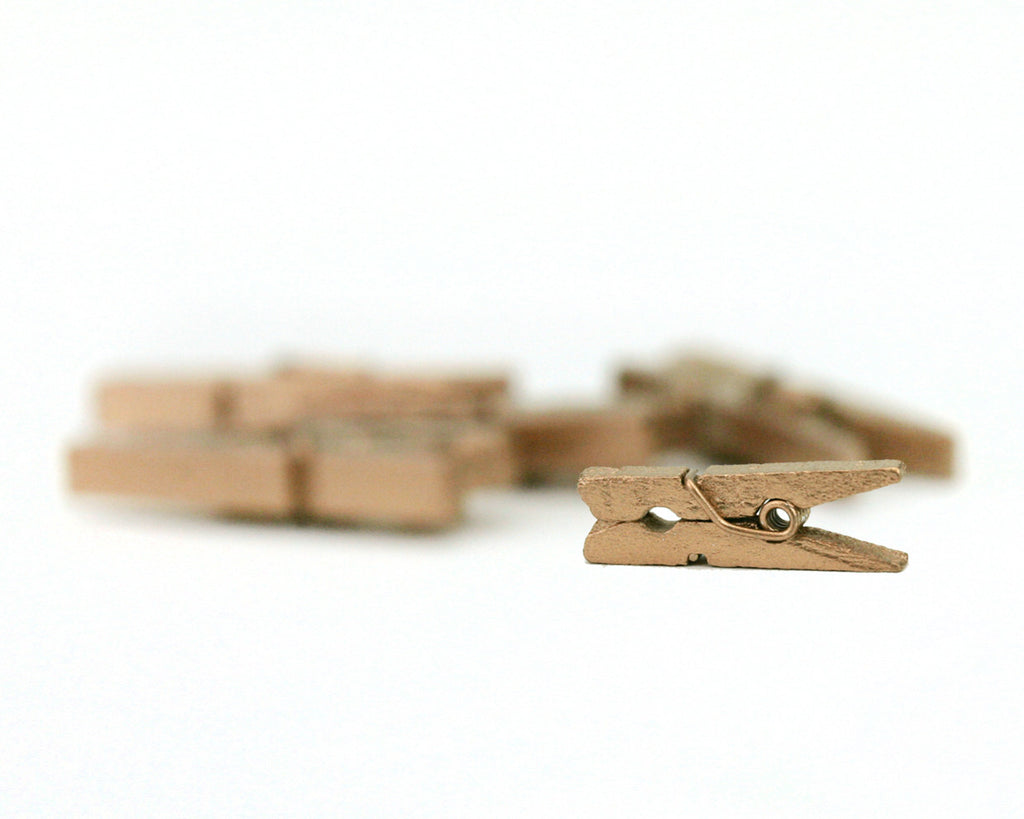 Mini Clothespins- Gold (25 pieces)