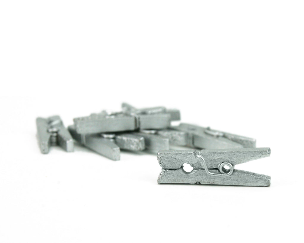 Mini Clothespins- Silver (25 pieces)