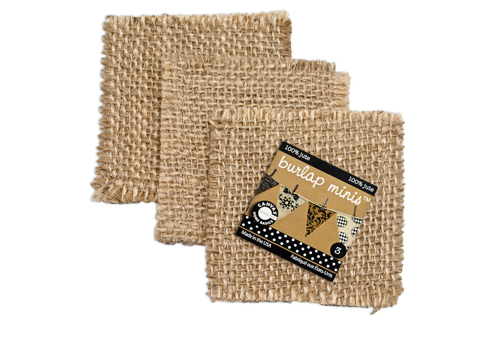 Burlap Mini  Shape - Square (3 pieces)