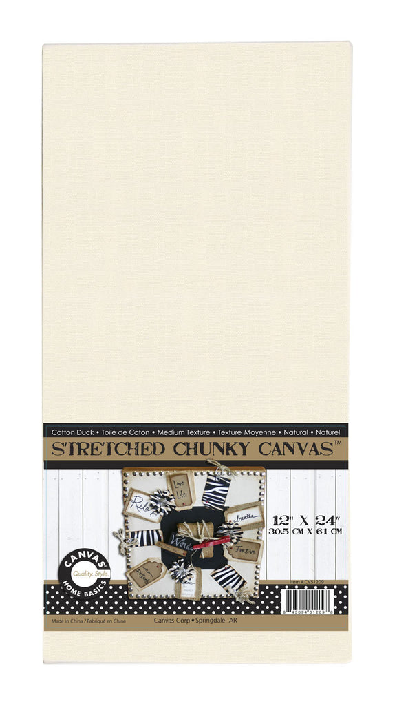 Stretched Natural Canvas - 12 x 24 Chunky