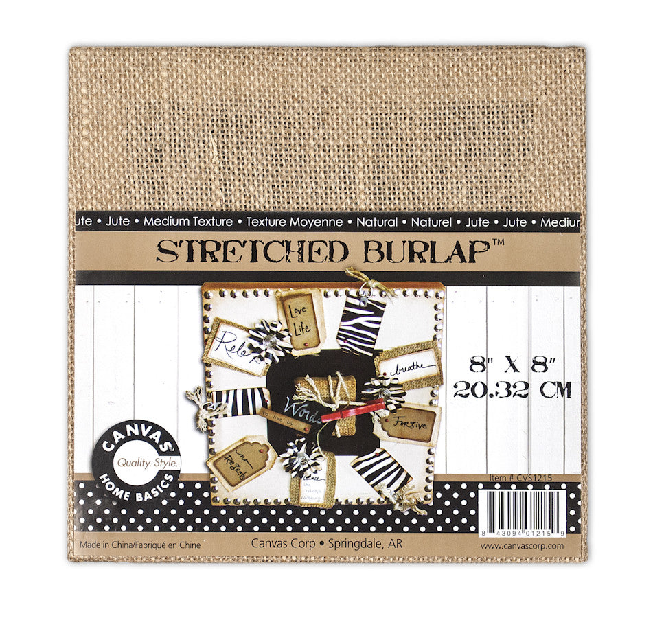 Stretched Natural Burlap - 8 x 8