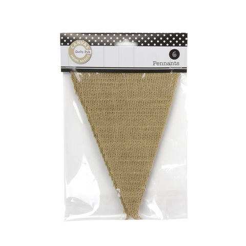 Burlap Pennants - Packaged (6 pieces)