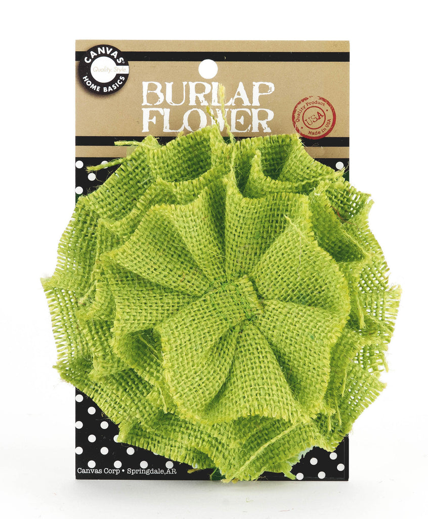 Burlap Flower- Lime Green