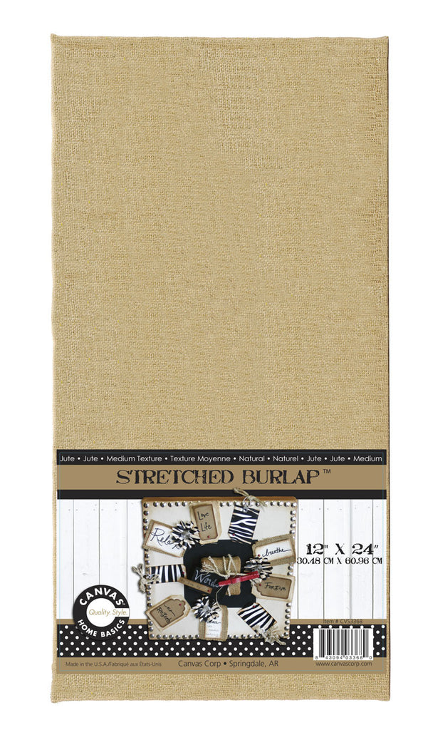 Stretched Natural Burlap - 12 x 24