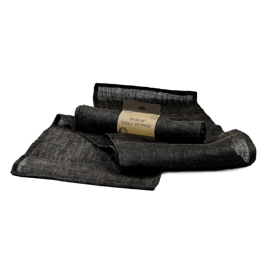 Table Runner - Black Burlap or Canvas