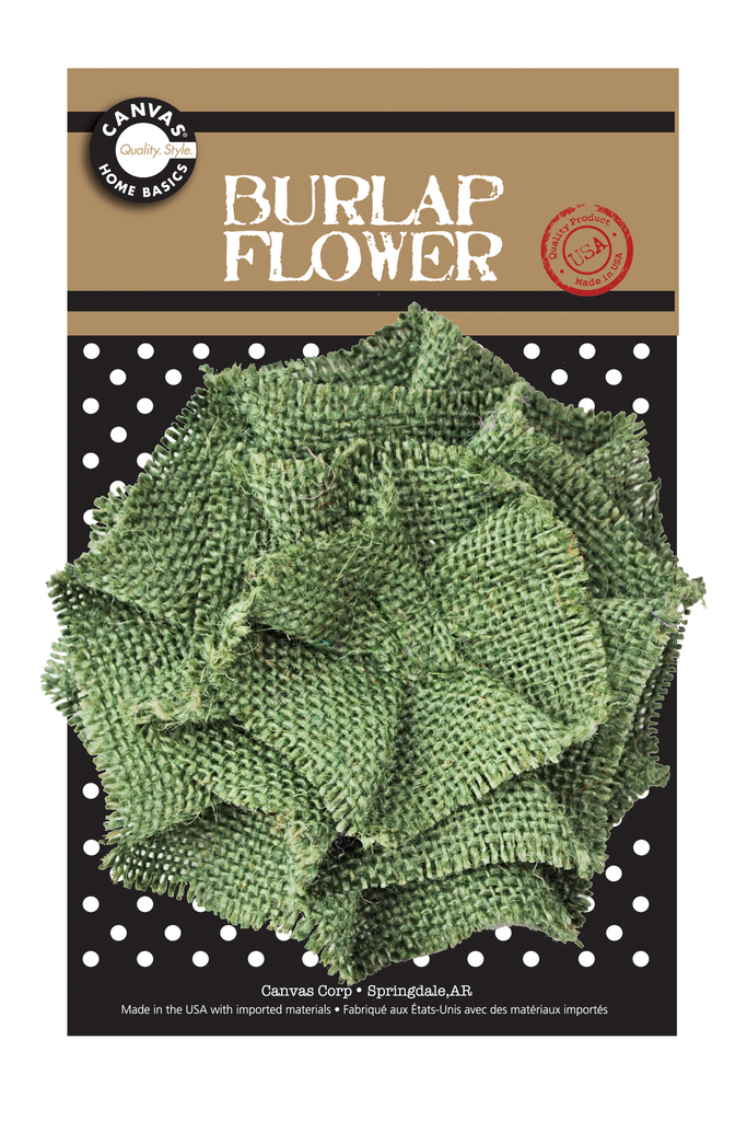 Burlap Flower - Hunter Green