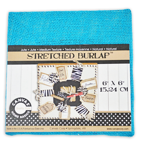 Stretched Burlap 6 x 6  - Teal