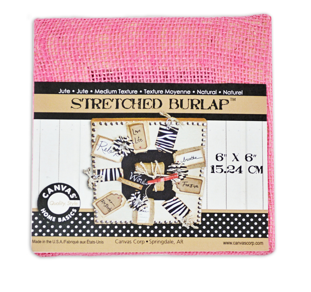 Stretched Burlap 6 x 6  - Pink