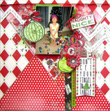 Jolly Christmas: Red and Green Stitched Diamonds Paper