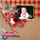 Farmhouse Christmas: Red and Black Diamonds on Kraft Paper
