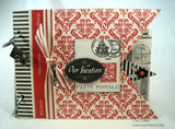 Red and Ivory Damask Paper