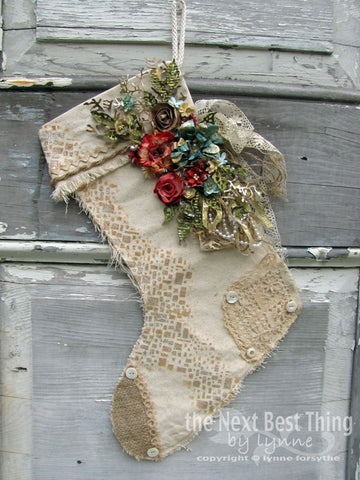 Christmas Stocking Burlap Small 8 X10 5