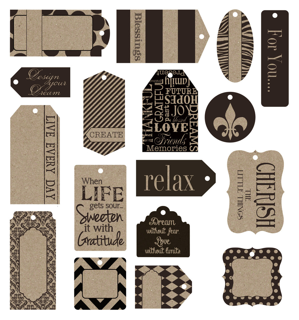 Tags -  Black on Kraft