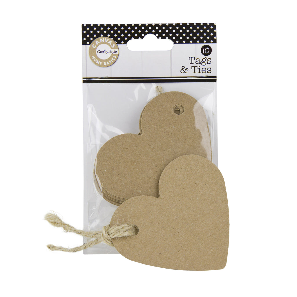 Tags & Ties Heart - Kraft (10)